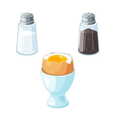 Soft boiled egg in eggshell in egg holder. Pair of transparent glass shaker, salt and pepper. Vector illustration cartoon flat icon set isolated on white.
