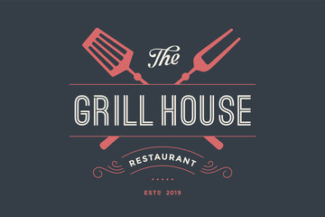 Logo of Grill House restaurant with grill fork, text Grill House, Restaurant. Graphic template for meat business - restaurant, bar, cafe, food court, design - menu, poster, label. Vector Illustration