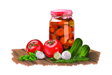 realistic jar pickle mix hand painting vector