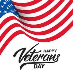 Veterans Day. Banner for USA Veterans Day celebration. Wavy USA flag and hand letetring