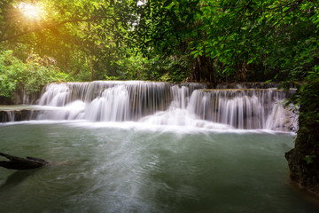Beautiful Landscape of Waterfall in forest at Huai Mae Khamin Waterfall National Park, Kanchanaburi, Thailand