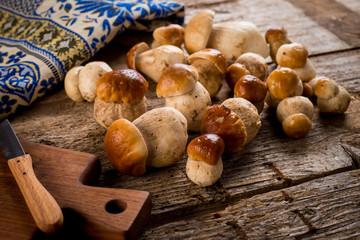 Raw porcini mushrooms