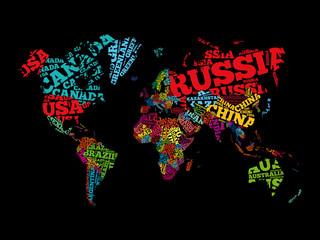 Obraz Mapa świata z nazwy krajów - fototapety do salonu