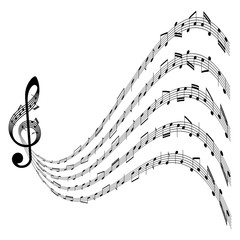vector music background with clef and notes on white background, isolated illustration, abstract musical design