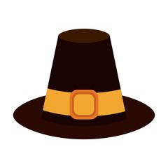 pilgrim hat thanksgiving related icon image vector illustration design