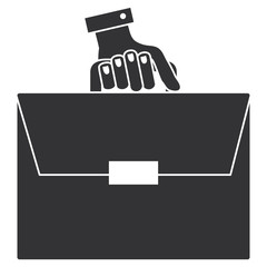 hand human with portfolio briefcase isolated icon