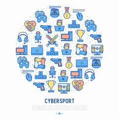 Cybersport concept in circle with thin line icons: gamer, computer games, pc, headset, mouse, game controller. Modern vector illustration for banner, web page, print media.