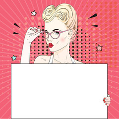 Comic Pop art blonde hair woman face with kiss mouth holds her glasses an white banner. Vector illustration.