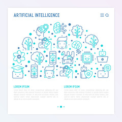 Machine learning and artificial intelligence concept in half circle with thin line icons. Vector illustration for banner, web page, print media.