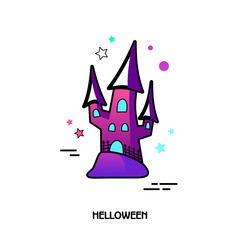Witch castle vector icon. Halloween sticker