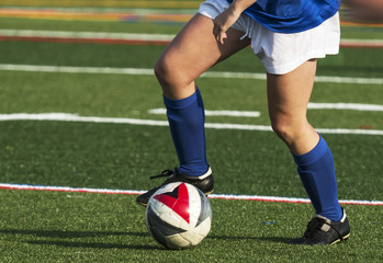 Soccer player controlling the ball during a game