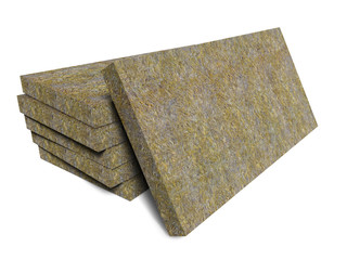 Mineral basalt rock wool mats stack