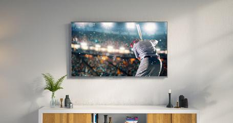 Living room led tv showing baseball game
