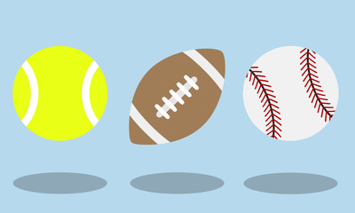 Tennis, American football and Baseball balls flat icons