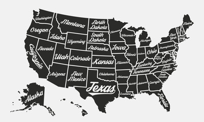 Wall Mural - United States of America poster map. USA map vintage background. Retro typographic