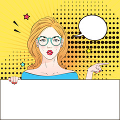 Pop Art Vintage advertising poster comic girl in round glasses holds a white banner points aside . Comic woman with speech bubble. Vector illustration