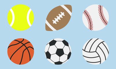 Sports balls icons isolated on a blue background. Tennis, Rugby, Basketball, Soccer, Football, Voleyball, Baseball balls. Trendy flat icons