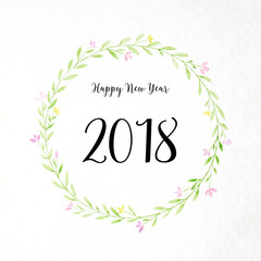 Happy new year 2018 on hand painting flowers wreath in watercolor style over white paper background, Flowers wreath new year greeting card