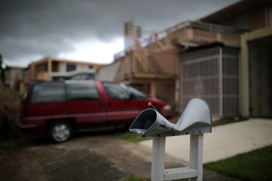 A damaged mail box is seen at an area affected by Hurricane Maria in San Juan, Puerto Rico