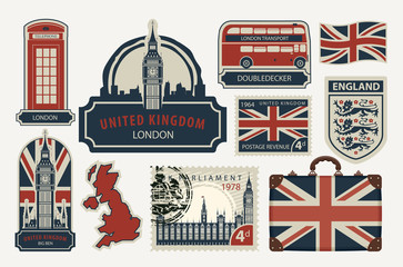 Vector set of British symbols, stamps, architectural landmarks and flag of the United Kingdom in retro style Fotomurales