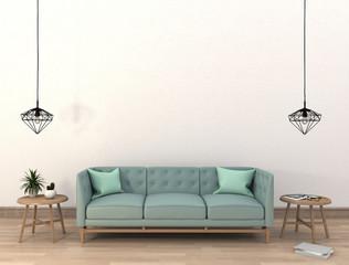 mock up poster frame in hipster interior modern living room background, 3D render
