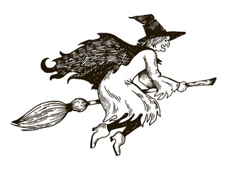 Witch flying on broomstick engraving vector
