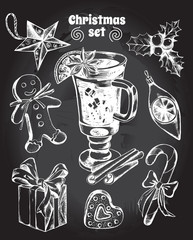 Set of Christmas attributes: Christmas decorations, gingerbread man, gift box, holly, candy, gingerbread, mulled wine. Hand drawn vector Illustration.
