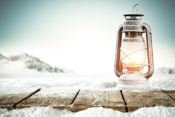 winter time and lamp on desk space