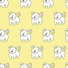 Seamless pattern with cartoon dogs on the yellow background.