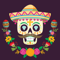 """Dia de los Muertos"" (day of the dead) mexican skull."