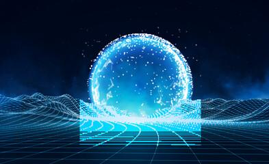 Vector retro futuristic background. Digital retro landscape in1980s style. Retro Sci-Fi Background