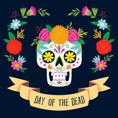 """""""Dia de los Muertos"""" (day of the dead) card. English text."""