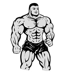 bodybuilder on isolated background.