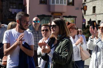 Perez deputy mayor of Vielha, takes part in demonstration in Vielha, Catalonia