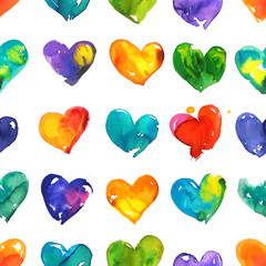 Colorful watercolor  hearts seamless pattern