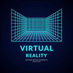 Virtual reality and new technologies for games. Room with perspective grid.