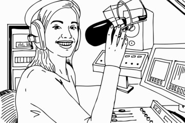 radio dj girl in studio hand drawing line art illustration