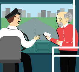 pension benefits. retired man in the bus reaches a ticket to driver