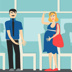 good manners. the man on the bus gives way to the pregnant lady.etiquette.tired woman and man