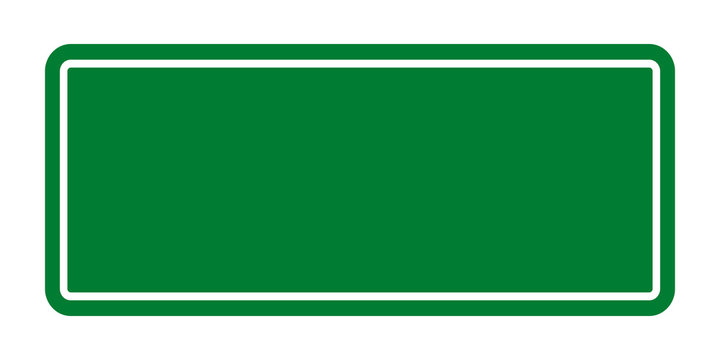 Blank green color square transportation sign on white background for add wording
