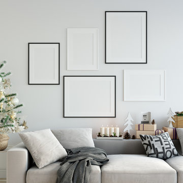 mock up posters in living room Christmas interior. Interior scandinavian style. 3d rendering, 3d illustration