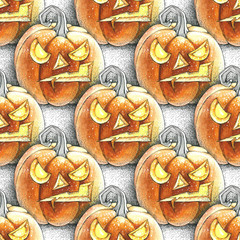 Watercolor illustration of seamless pattern with Halloween pumpkin. Isolated objects.