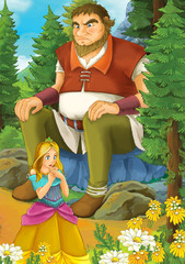 Cartoon scene with some beautiful girl in forest and giant sitting on the rock - illustration for children