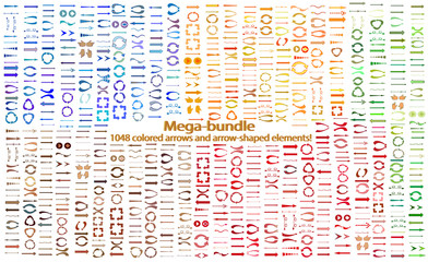 Mega-bundle multi-colored arrows. A giant set of colored vector arrows. The original arrow-shaped elements of different colors. Vector illustration