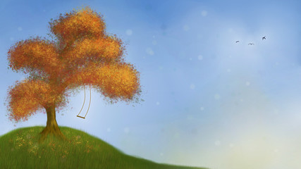 painting of an autumn tree with a swing in front of a blue sky (stylized hand-painted landscape)