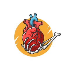 Heart in the hand of a skeleton vector illustration