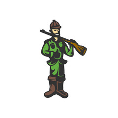 Hunter with a gun vector illustration