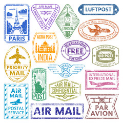 different countries air plane post stamp delivery mail postmark illustration.