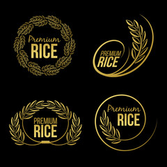 Gold paddy rice premium organic natural product banner logo on black background vector design