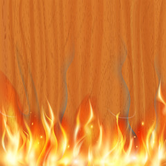 wooden texture is burning. Stock vector illustration.